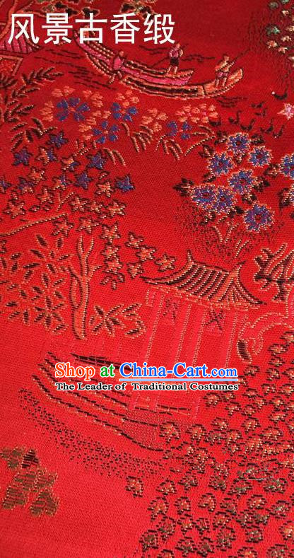 Traditional Asian Chinese Handmade Embroidery Scenery Silk Satin Tang Suit Red Fabric, Nanjing Brocade Ancient Costume Hanfu Cheongsam Cloth Material