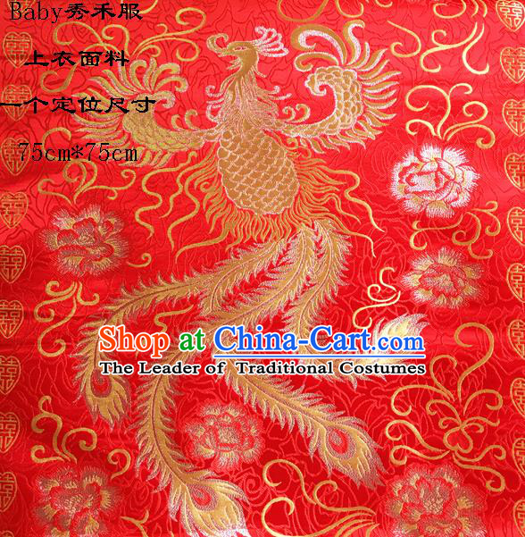 Traditional Asian Chinese Handmade Embroidery Phoenix Satin Wedding Xiuhe Suit Red Silk Fabric, Top Grade Nanjing Brocade Ancient Costume Hanfu Clothing Cheongsam Cloth Material