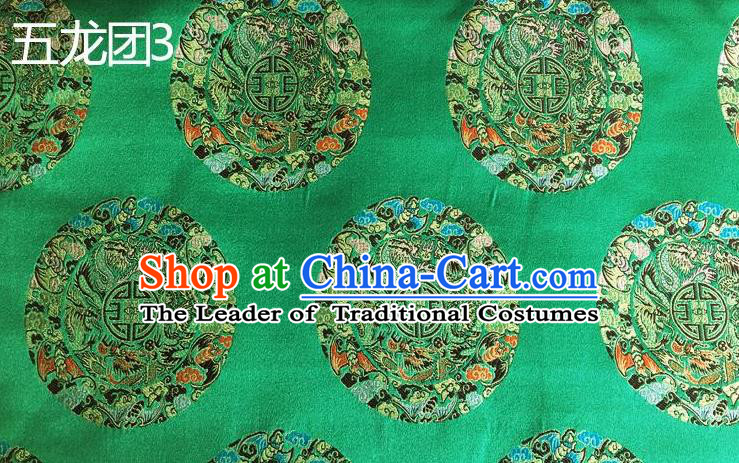 Traditional Asian Chinese Handmade Embroidery Dragon Pattern Silk Satin Tang Suit Xiuhe Suit Green Fabric, Nanjing Brocade Ancient Costume Hanfu Cheongsam Cloth Material