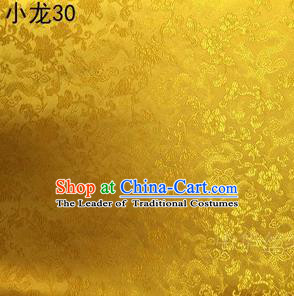 Traditional Asian Chinese Handmade Embroidery Dragons Silk Tapestry Tibetan Clothing Golden Fabric Drapery, Top Grade Nanjing Brocade Cheongsam Cloth Material