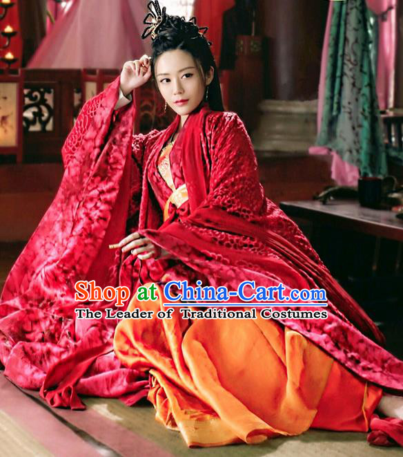 Asian Chinese Traditional Northern and Southern Dynasties Princess Wedding Costume and Headpiece Complete Set, Lost Love In Times China Ancient Imperial Concubine Embroidered Dress Clothing