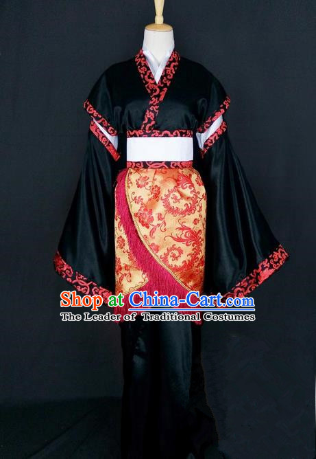 Asian Chinese Traditional Cospaly Han Dynasty Princess Costume, China Elegant Hanfu Fairy Black Dress for Women