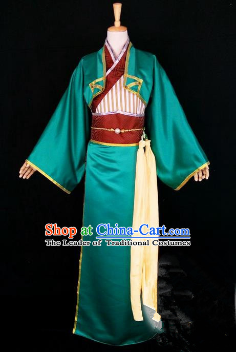 Asian Chinese Traditional Cospaly Han Dynasty Scholar Costume, China Elegant Hanfu Nobility Childe Green Robe Clothing for Men