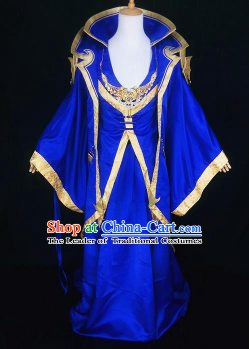 Asian Chinese Traditional Cospaly Han Dynasty Royal Emperor Costume, China Elegant Hanfu Nobility Childe Blue Robe Clothing for Men