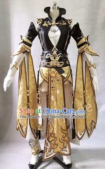 Asian Chinese Traditional Cospaly Costume Customization Ming Dynasty General Costume, China Elegant Hanfu Swordsman Clothing for Women