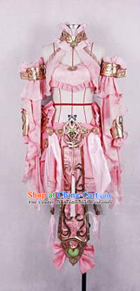 Asian Chinese Traditional Cospaly Customization Ming Dynasty Young Lady Costume, China Elegant Hanfu Knight-errant Pink Clothing for Women