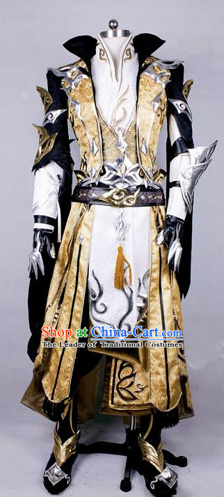 Asian Chinese Traditional Cospaly Costume Customization Swordsman Costume Complete Set, China Elegant Hanfu Royal Highness Embroidery Clothing for Men