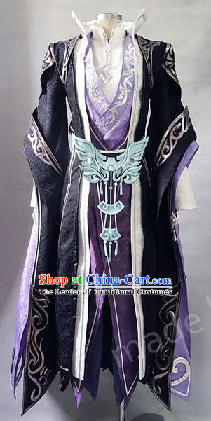 Asian Chinese Traditional Cospaly Costume Customization Refined Royal Highness Costume Complete Set, China Elegant Hanfu Swordsman Purple Clothing for Men