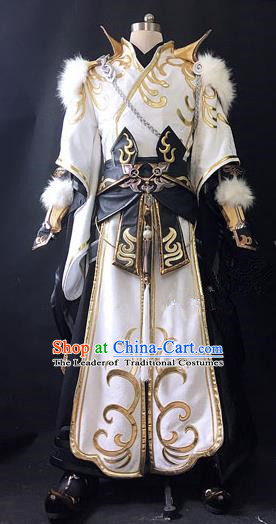 Asian Chinese Traditional Cospaly Costume Customization Ancient General Costume Complete Set, China Elegant Hanfu Swordsman Clothing for Men