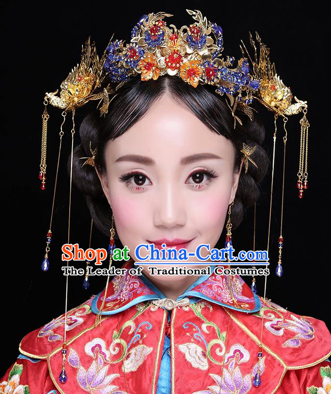 Chinese Ancient Style Hair Jewelry Accessories Wedding Tassel Hairpins, Hanfu Xiuhe Suits Step Shake Bride Handmade Phoenix Coronet Complete Set for Women