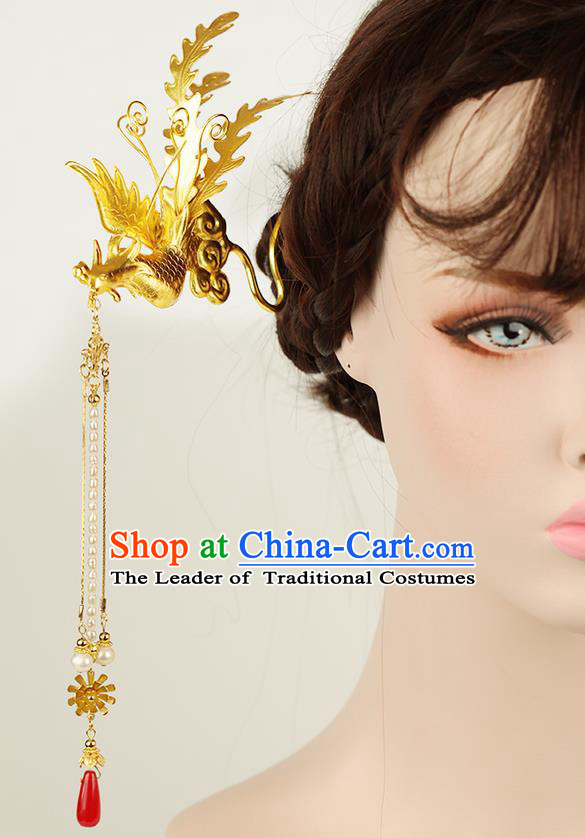 Chinese Ancient Style Hair Jewelry Accessories Wedding Golden Phoenix Hair Stick, Hanfu Xiuhe Suits Step Shake Bride Handmade Hairpins for Women
