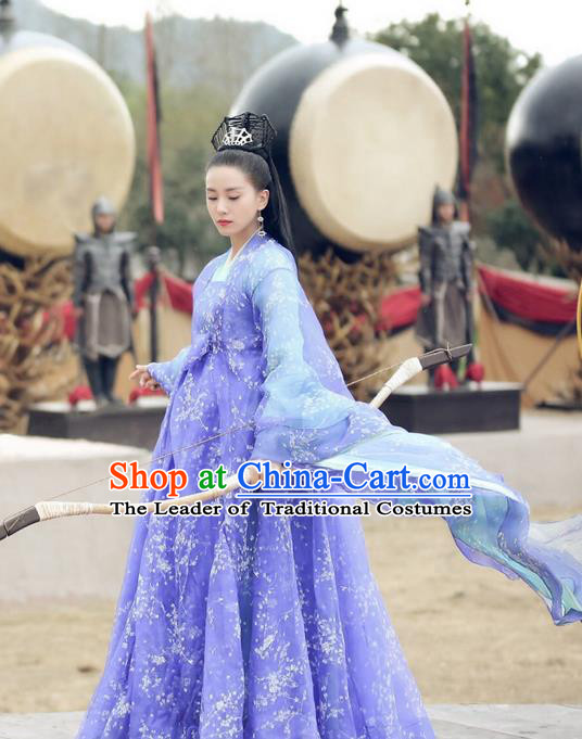 Asian Chinese Traditional Northern and Southern Dynasties Princess Costume and Headpiece Complete Set, Lost Love In Times China Ancient Fairy Embroidered Dress Clothing
