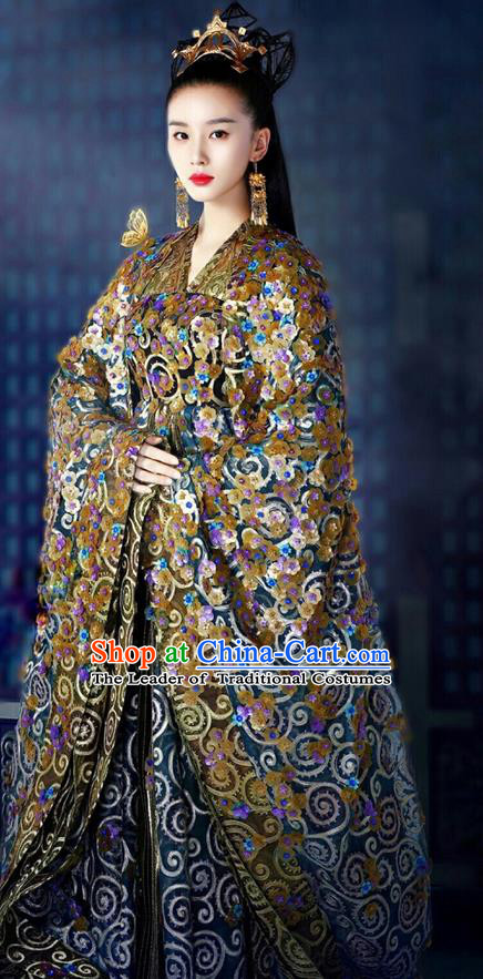 Asian Chinese Traditional Northern and Southern Dynasties Nobility Lady Saintess Costume and Headpiece Complete Set, Lost Love In Times China Ancient Fairy Princess Embroidered Dress Clothing