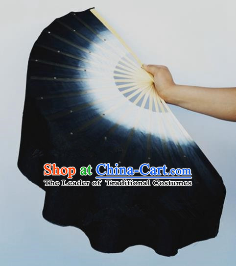 Black Pure Silk Traditional Chinese Fans Oriental Colorful Fan Folk Dance Dance Cultural Hand Fan