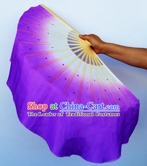 Purple Pure Silk Traditional Chinese Fans Oriental Fan Folk Dance Dance Cultural Hand Fan