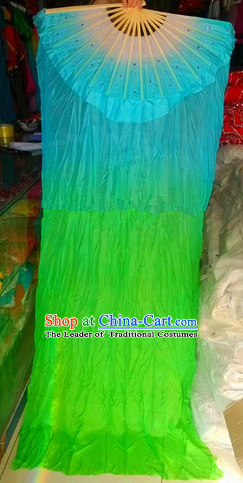 Pure Silk Traditional Chinese Fans Oriental Long Ribbon Fan Folk Dance Cultural Yanko Dance Green Hand Fan