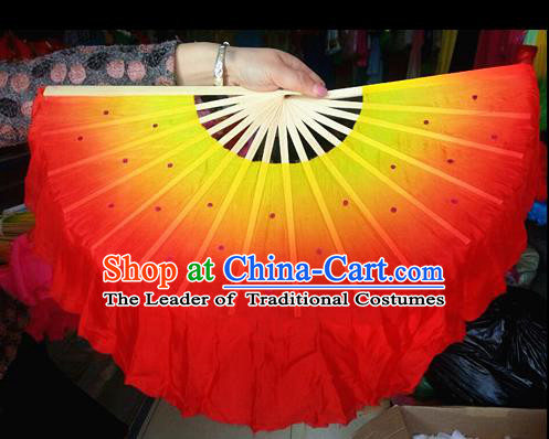 Pure Silk Traditional Chinese Fans Oriental Orange Ribbon Fan Folk Dance Cultural Yanko Dance Hand Fan