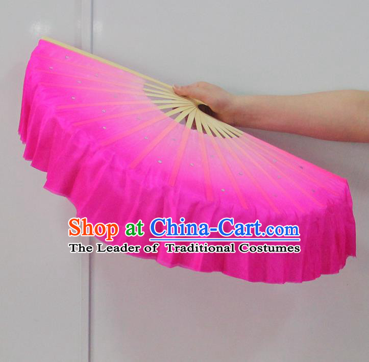 Pure Silk Traditional Chinese Fans Oriental Pink Ribbon Fan Folk Dance Cultural Yanko Dance Hand Fan