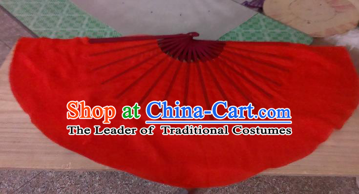 Pure Silk Traditional Chinese Fans Oriental Red Ribbon Fan Folk Dance Cultural Yangko Dance Hand Fan