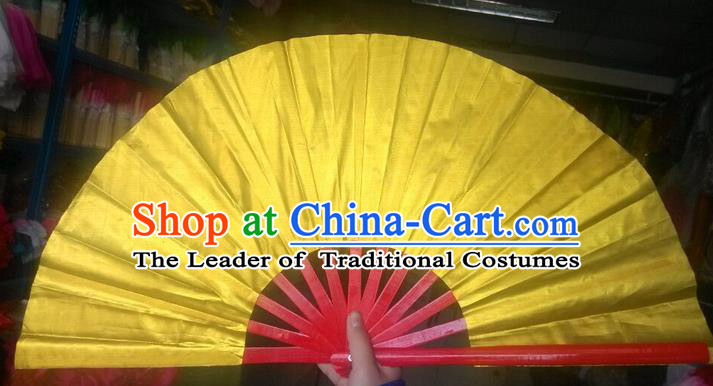 Pure Silk Traditional Chinese Fans Oriental Golden Kung Fu Folding Fan Folk Dance Cultural Tai Chi Dance Hand Fan