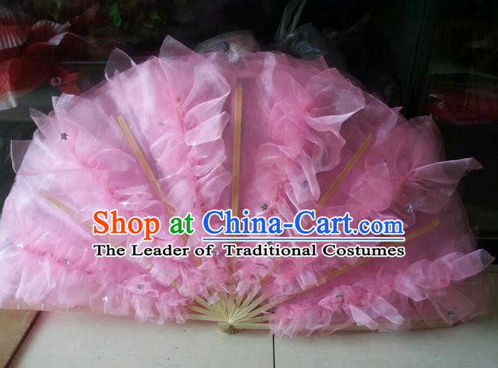 Pure Silk Traditional Chinese Fans Oriental Pink Folding Fan Folk Dance Cultural Yangko Dance Hand Fan