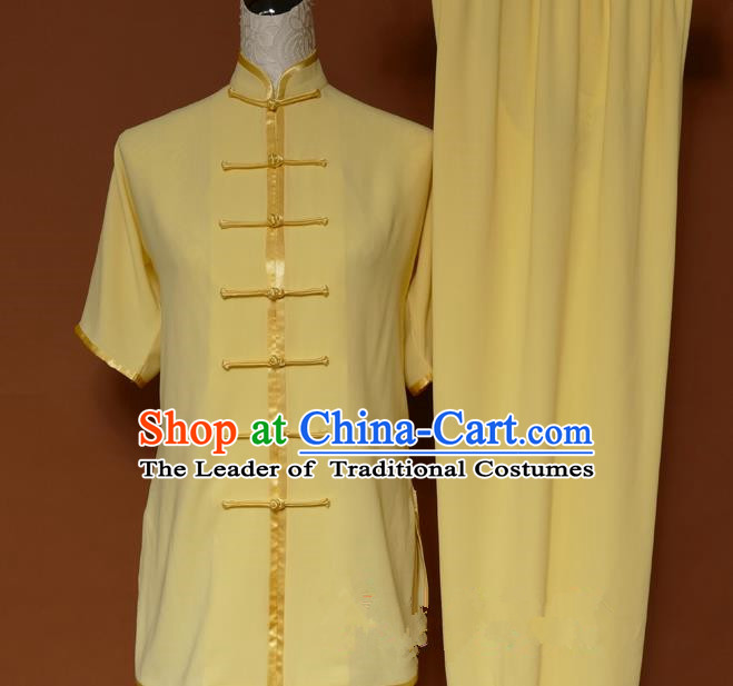 Top Grade Kung Fu Costume Asian Chinese Martial Arts Kung Fu Training Uniform, China Gongfu Shaolin Wushu Yellow Clothing for Women