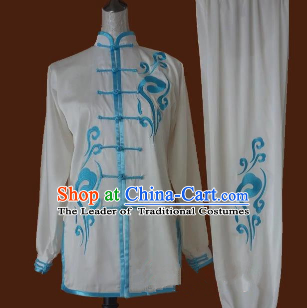 Top Grade Kung Fu Costume Asian Chinese Martial Arts Tai Chi Training White Uniform, China Embroidery Gongfu Shaolin Wushu Clothing for Men for Women