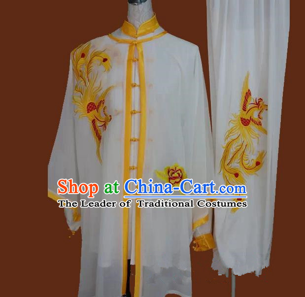 Top Grade Kung Fu Silk Costume Asian Chinese Martial Arts Tai Chi Training Uniform, China Embroidery Yellow Phoenix Gongfu Shaolin Wushu Clothing for Men for Women