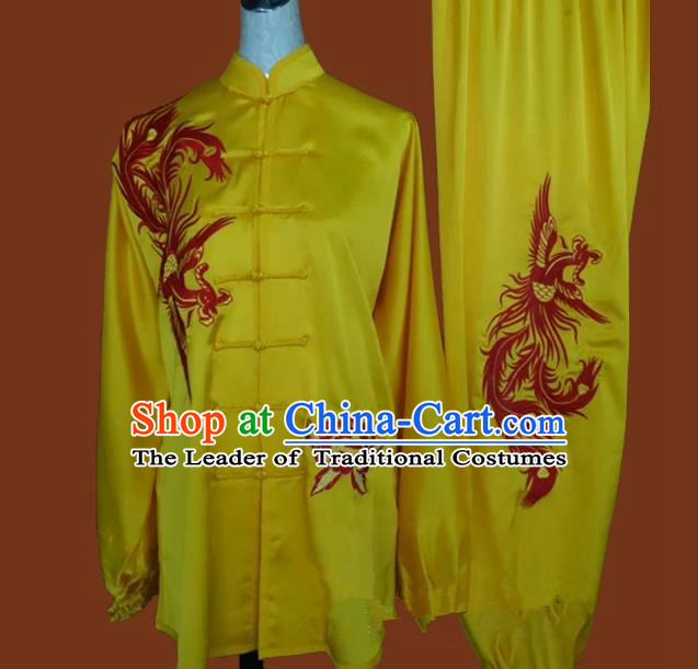 Top Grade Kung Fu Silk Costume Asian Chinese Martial Arts Tai Chi Training Yellow Uniform, China Embroidery Phoenix Gongfu Shaolin Wushu Clothing for Men for Women