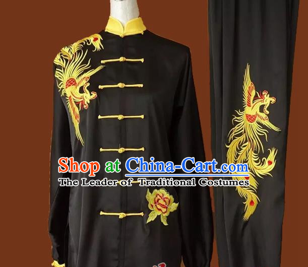 Top Grade Kung Fu Silk Costume Asian Chinese Martial Arts Tai Chi Training Black Uniform, China Embroidery Phoenix Gongfu Shaolin Wushu Clothing for Men for Women