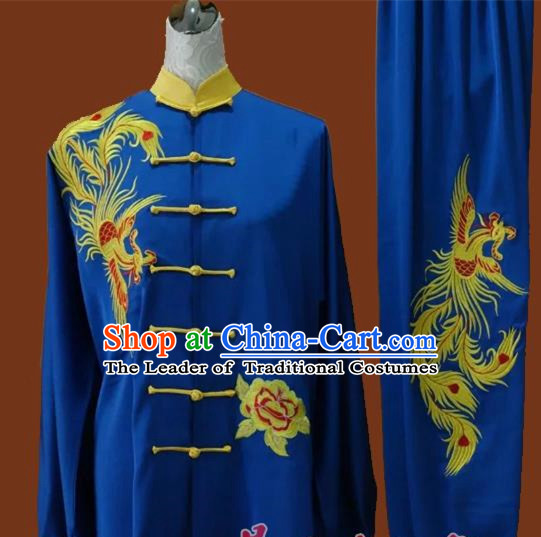 Top Grade Kung Fu Silk Costume Asian Chinese Martial Arts Tai Chi Training Blue Uniform, China Embroidery Phoenix Gongfu Shaolin Wushu Clothing for Men for Women