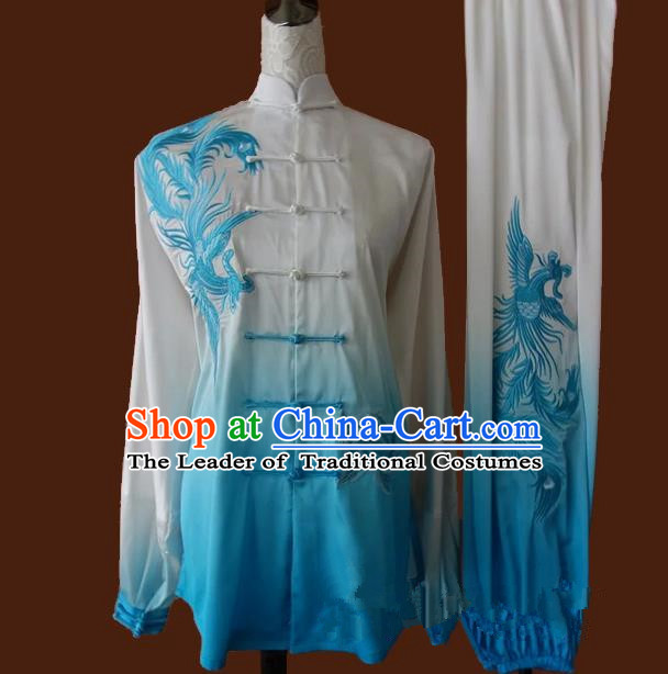 Top Grade Kung Fu Silk Costume Asian Chinese Martial Arts Tai Chi Training Gradient Blue Uniform, China Embroidery Phoenix Gongfu Shaolin Wushu Clothing for Women