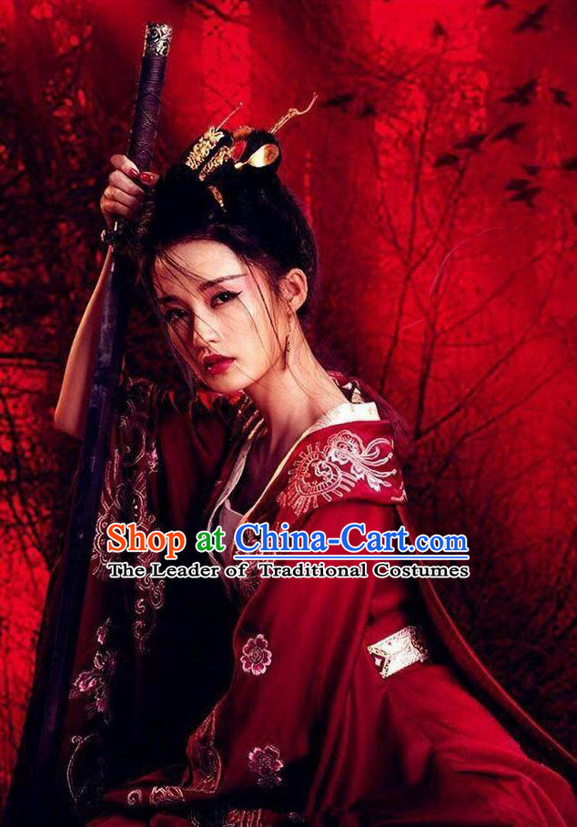 Asian Chinese Traditional Ancient Imperial Princess Wedding Costume and Headpiece Complete Set, Princess Agents China Northern and Southern Dynasties Bride Embroidered Dress for Women