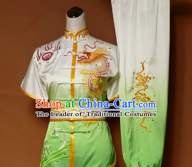 Asian Chinese Top Grade Silk Kung Fu Costume Martial Arts Tai Chi Training Suit, China Gongfu Shaolin Wushu Embroidery Dragon Gradient Green Uniform for Men