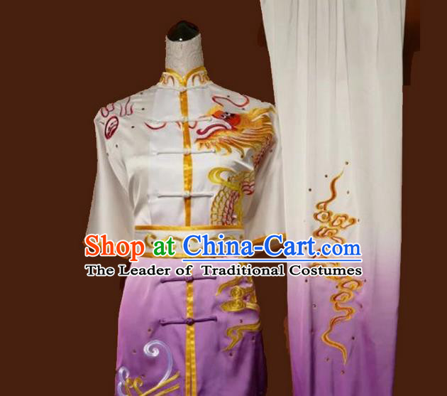 Asian Chinese Top Grade Silk Kung Fu Costume Martial Arts Tai Chi Training Suit, China Gongfu Shaolin Wushu Embroidery Dragon Gradient Purple Uniform for Men