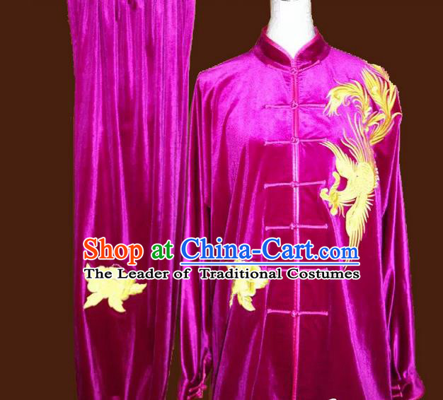 Asian Chinese Top Grade Velvet Kung Fu Costume Martial Arts Tai Chi Training Suit, China Gongfu Shaolin Wushu Embroidery Phoenix Rosy Uniform for Women