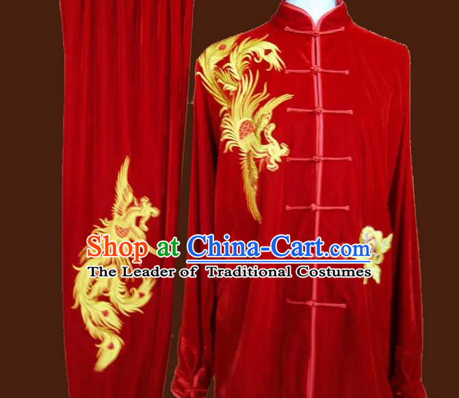 Asian Chinese Top Grade Velvet Kung Fu Costume Martial Arts Tai Chi Training Suit, China Gongfu Shaolin Wushu Embroidery Phoenix Red Uniform for Women