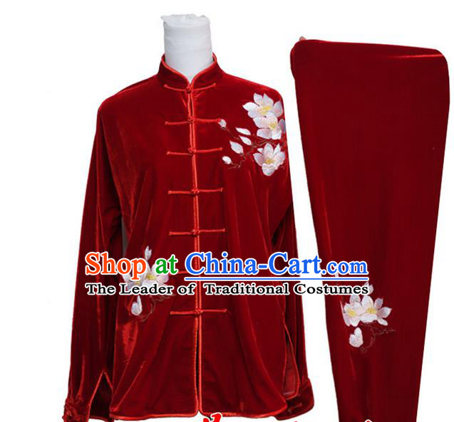 Asian Chinese Top Grade Velvet Kung Fu Costume Martial Arts Tai Chi Training Suit, China Gongfu Shaolin Wushu Embroidery Magnolia Flower Red Uniform for Women
