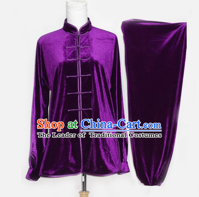 Asian Chinese Top Grade Velvet Kung Fu Costume Martial Arts Tai Chi Training Suit, China Gongfu Shaolin Wushu Purple Uniform for Men