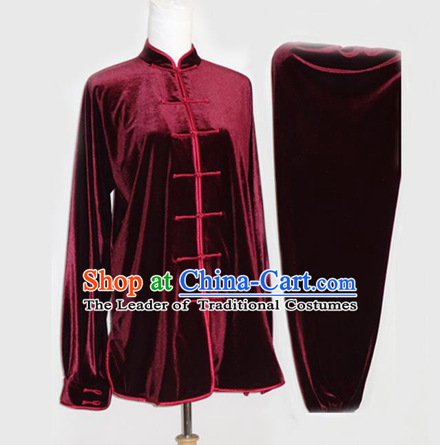 Asian Chinese Top Grade Velvet Kung Fu Costume Martial Arts Tai Chi Training Suit, China Gongfu Shaolin Wushu Wine Red Uniform for Men