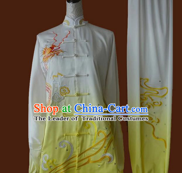 Asian Chinese Top Grade Silk Kung Fu Costume Martial Arts Tai Chi Training Suit, China Gongfu Shaolin Wushu Embroidery Dragon Yellow Uniform for Men