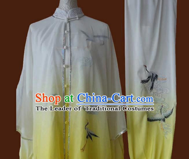 Asian Chinese Top Grade Silk Kung Fu Costume Martial Arts Tai Chi Training Suit, China Gongfu Shaolin Wushu Embroidery Crane Yellow Uniform for Men