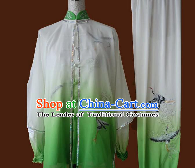 Asian Chinese Top Grade Silk Kung Fu Costume Martial Arts Tai Chi Training Suit, China Gongfu Shaolin Wushu Embroidery Crane Green Uniform for Men
