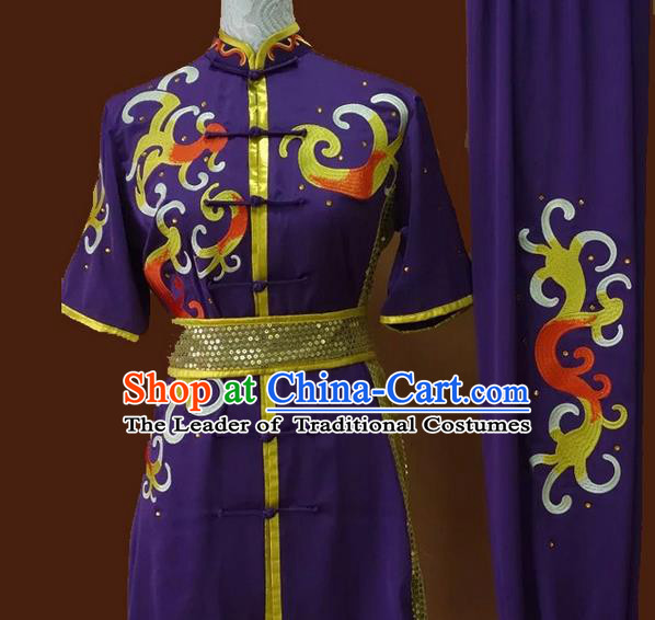 Asian Chinese Top Grade Silk Kung Fu Costume Martial Arts Tai Chi Training Suit, China Gongfu Shaolin Wushu Embroidery Purple Uniform for Men