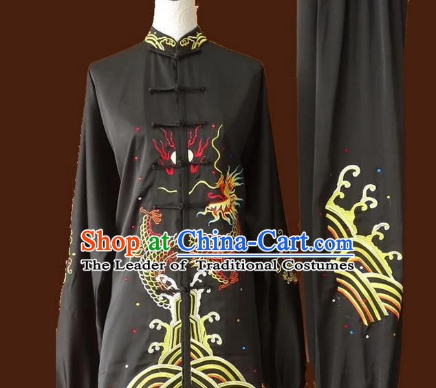 Asian Chinese Top Grade Silk Kung Fu Costume Martial Arts Tai Chi Training Suit, China Gongfu Shaolin Wushu Embroidery Dragon Black Uniform for Men