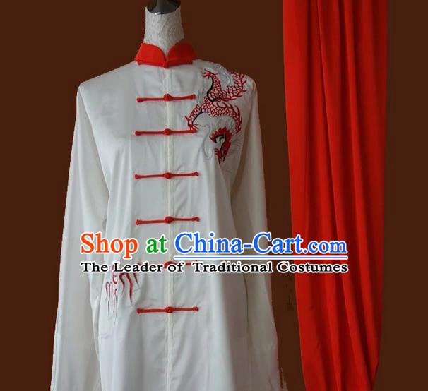 Asian Chinese Top Grade Silk Kung Fu Costume Martial Arts Tai Chi Training Suit, China Gongfu Shaolin Wushu Embroidery Red Dragon Uniform for Men