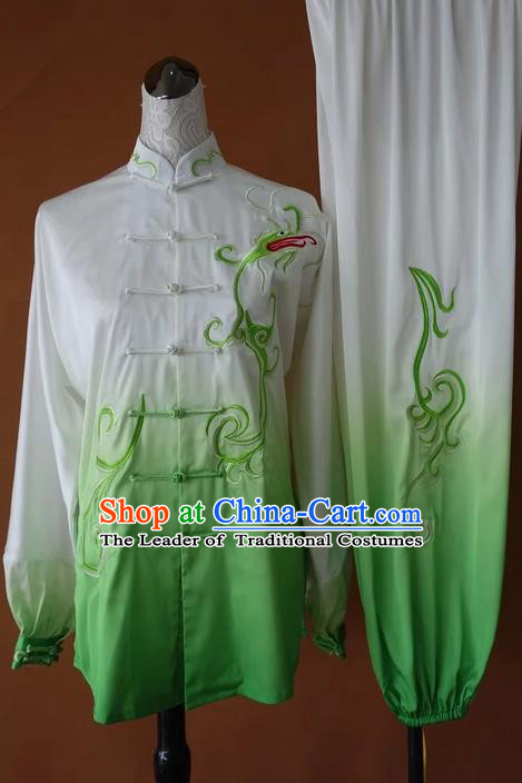 Asian Chinese Top Grade Silk Kung Fu Costume Martial Arts Tai Chi Training Suit, China Gongfu Shaolin Wushu Embroidery Green Uniform for Men