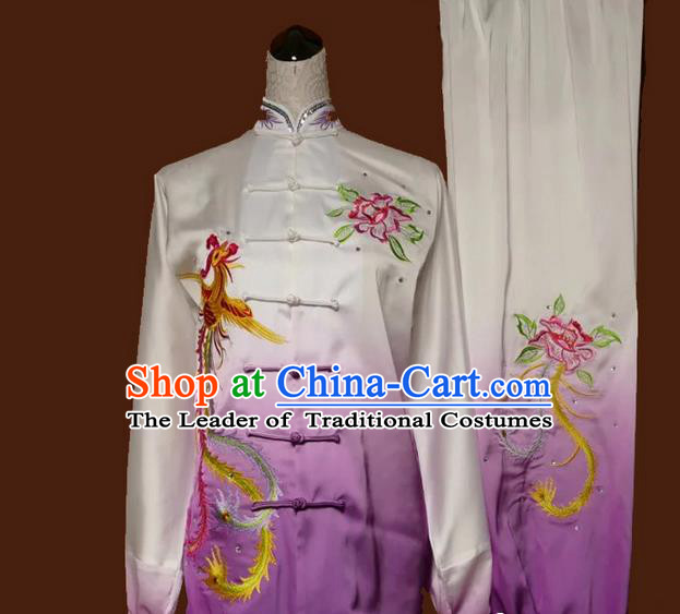 Asian Chinese Top Grade Linen Kung Fu Costume Martial Arts Tai Chi Training Suit, China Gongfu Shaolin Wushu Embroidery Phoenix Peony Gradient Purple Uniform for Women