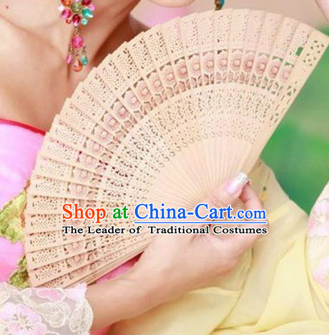 Traditional Chinese Crafts Folding Fan China Sensu Wood Hollow Out Fan for Women