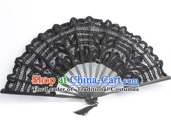 Traditional Chinese Crafts Lace Folding Fan China Fan Imperial Consort Black Fans for Women